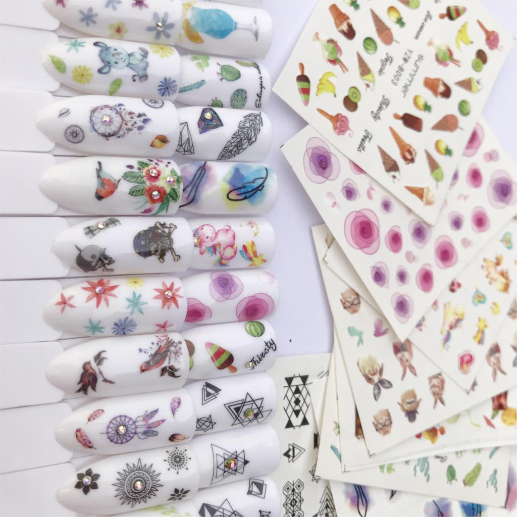 1 Pc Blooming Nail Sticker Flower Ice Cream Water Decals