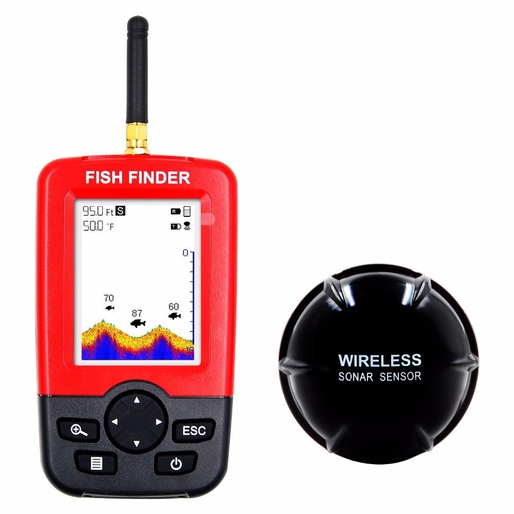Frete Grátis Venda Quente Alarme 100 M Portátil Sonar LCD Fish Finder Wireless Finder fishfinder isca De Pesca Pesca Ecobatímetro