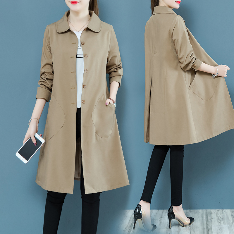 2019 Spring Autumn Women Casual Long   Trench   Coat Plus size Vintage Thin Windbreaker Outerwear Female Pink Khaki Red   Trench   Mujer