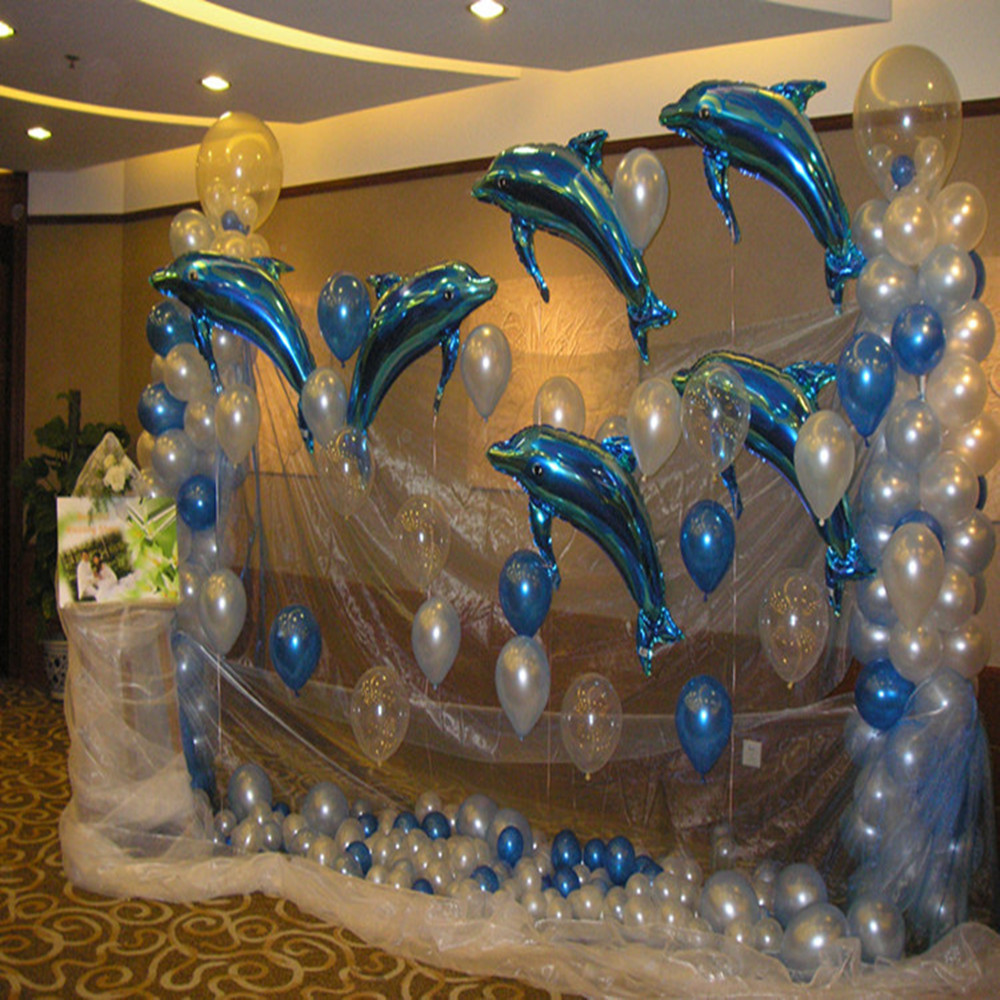 comprar p gran delfn rosado azul foil globo de helio fiesta de cumpleaos decoracin de la boda suministros nios regalo favorito de with globos cumpleaos