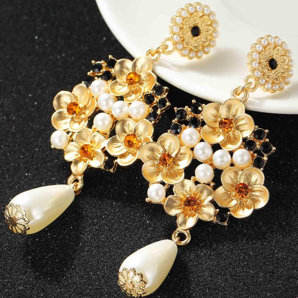Long Womens Fashion Earrings White Simulated Pearl Flower -5726