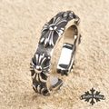 Vintage Stainless steel gothic Lolita Ring Cross Flower vintage for  women  men Fashion Jewelry adjustable
