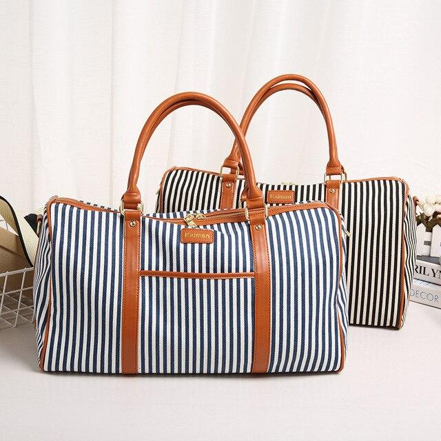 2016 Мода холст полосатый портативный сумка водонепроницаемый путешествия сумка багаж большой емкости Дорожная Сумка мужчин и женщин