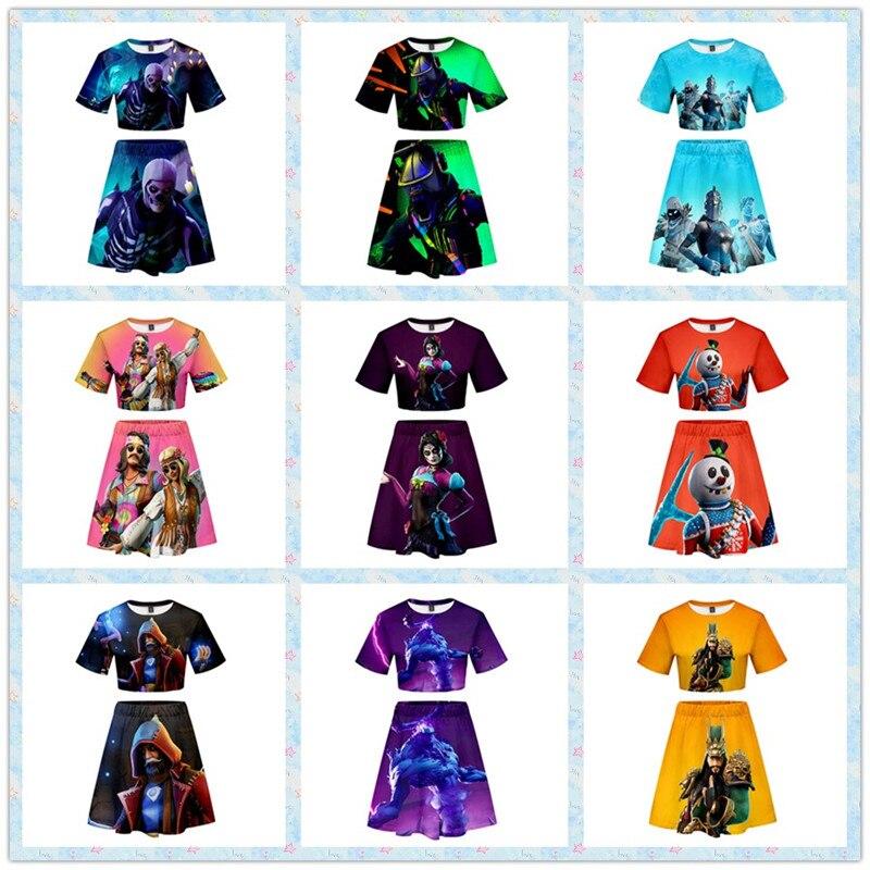 ZSQH Fortnight Fox T-shirt sets fortnited Battle Royale fortnit bare midriff skirts  llama Cosplay Costume for kids girl women