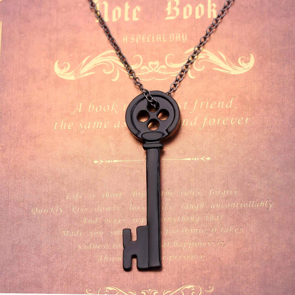 Vintage Black Key Pendant Necklace Movie Jewelry Coraline The Secret Door Necklace Neutral Jewelry For Men Women Collar Chain Chain Necklaces Aliexpress