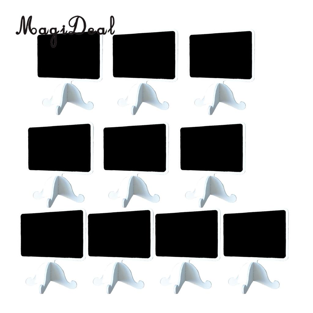 MagiDeal 10 Pieces Wooden Chalkboard Blackboard Wedding Table Number Sign with Base