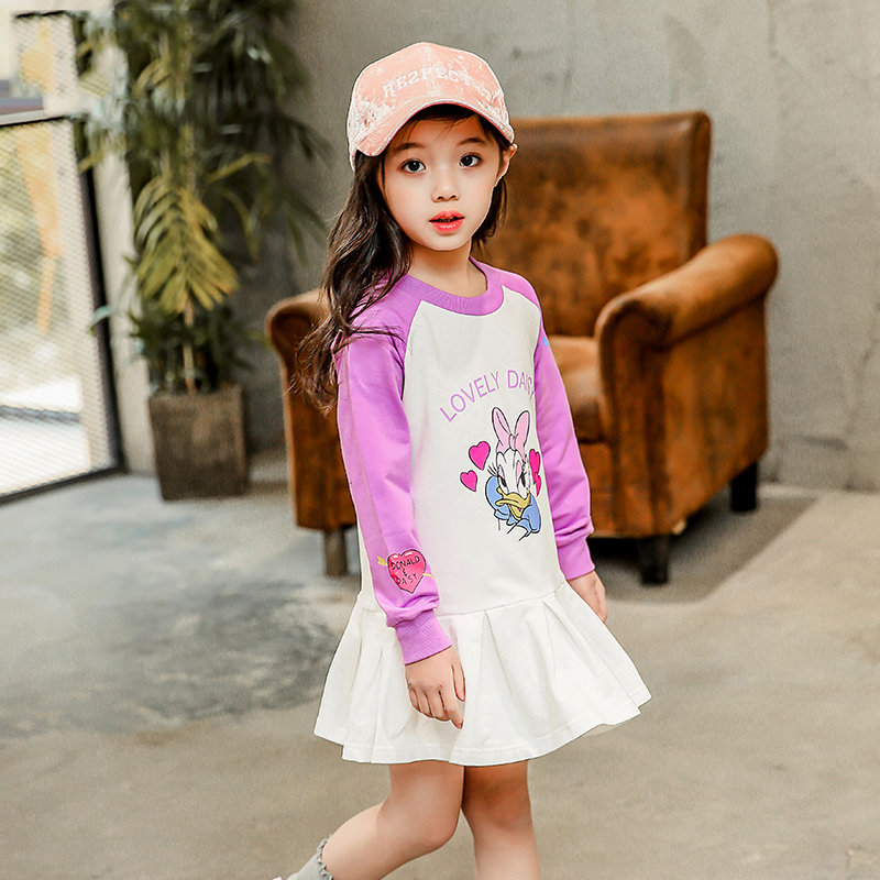 New Arrival 2018 girls boutique dresses Spring and Autumn baby girl fashion long sleeve dress children Cartoon clothing brand fashion 2016 new autumn girls dress cartoon kids dresses long sleeve princess girl clothes for 2 7y children party striped dress