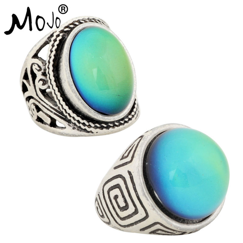 2PCS Vintage Ring Set of Rings on Fingers Mood Ring That Changes Color Wedding Rings of Strength for Women Men Jewelry RS019-044