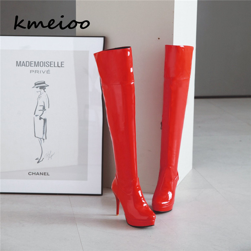 Kmeioo <font><b>Extreme</b></font> <font><b>high</b></font> <font><b>heel</b></font> black shiny 11cm <font><b>heel</b></font> over the knee <font><b>boots</b></font> thigh <font><b>high</b></font> <font><b>boots</b></font> <font><b>sexy</b></font> <font><b>heel</b></font> crotch <font><b>boots</b></font> image
