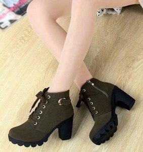 Image 3 - Di alta Qualità Lace up scarpe delle signore della donna DELLUNITÀ di elaborazione di moda in pelle stivali alti talloni delle donne 2020 nuovo autunno inverno delle donne caricamenti del Sistema della caviglia