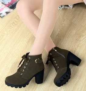 Image 3 - High Quality Lace up ladies shoes woman PU leather fashion high heels boots women 2020 new autumn winter women ankle Boots