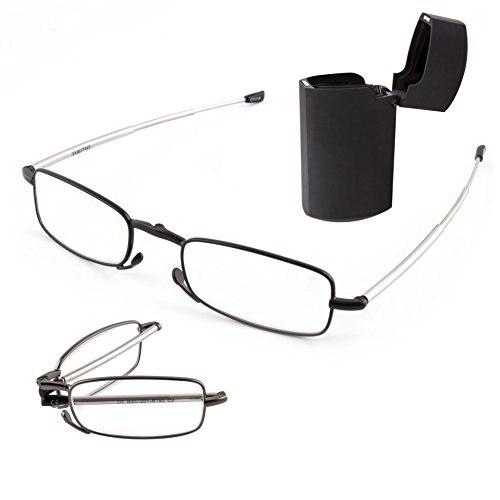 = = VIDA CLARA Compact Folding Óculos de Leitura com Mini Flip Top Maleta para Homens e Mulheres + 1 + 1.5 + 2 + 2.5 + 3 + 3.5 + 4