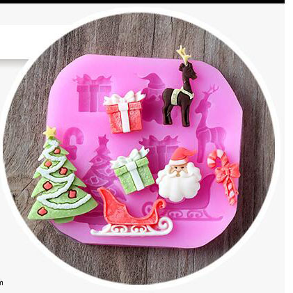 Christmas gift box tree santa elk deer Crutches, sleighs liquid silicone handmade fandont cake chocolate decorative mold