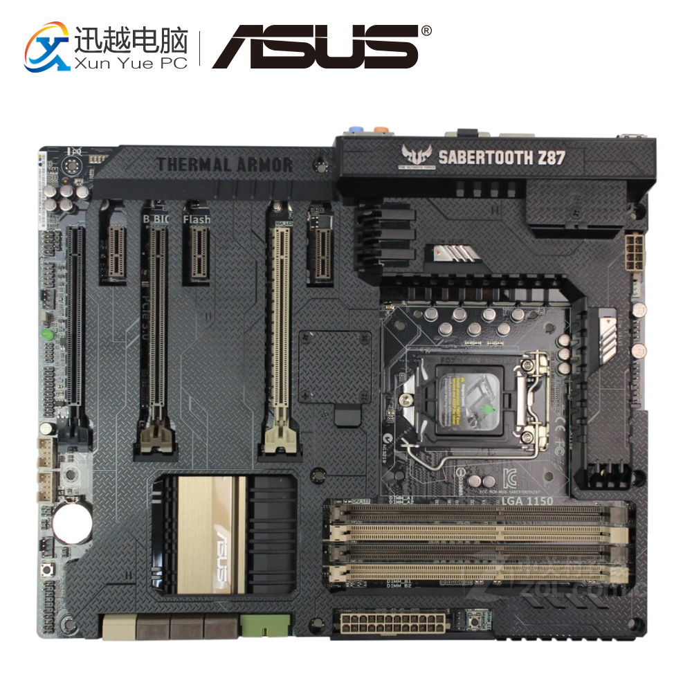 Asus SaberTooth Z87 Desktop Motherboard Include Thermal Armor Z87 LGA 1150 DDR3 32G USB3.0 ATX original z87 c 1150 motherboard z87 motherboard