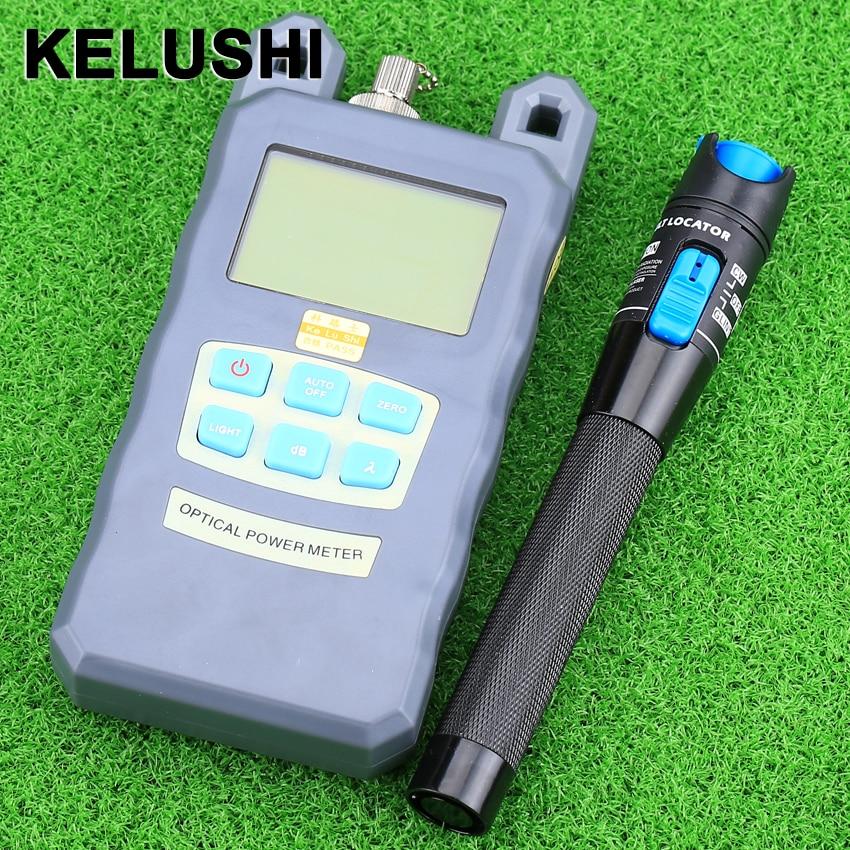 KELUSHI Fibra optică Contor de putere -70dBm ~ + 10 dBm Fibră optică și 1mW 5KM Localizator de defecte vizual Tester cu cablu de fibră optică