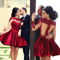 2017 HOT SALE short homecoming dresses long sleeve high neck sheer back red appliqued cocktail dresses