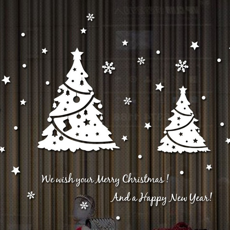 2019 Christmas White red black Tree  Christmas New Year Shop Window  Wall Sticker  Christmas Decorations 4 sizes