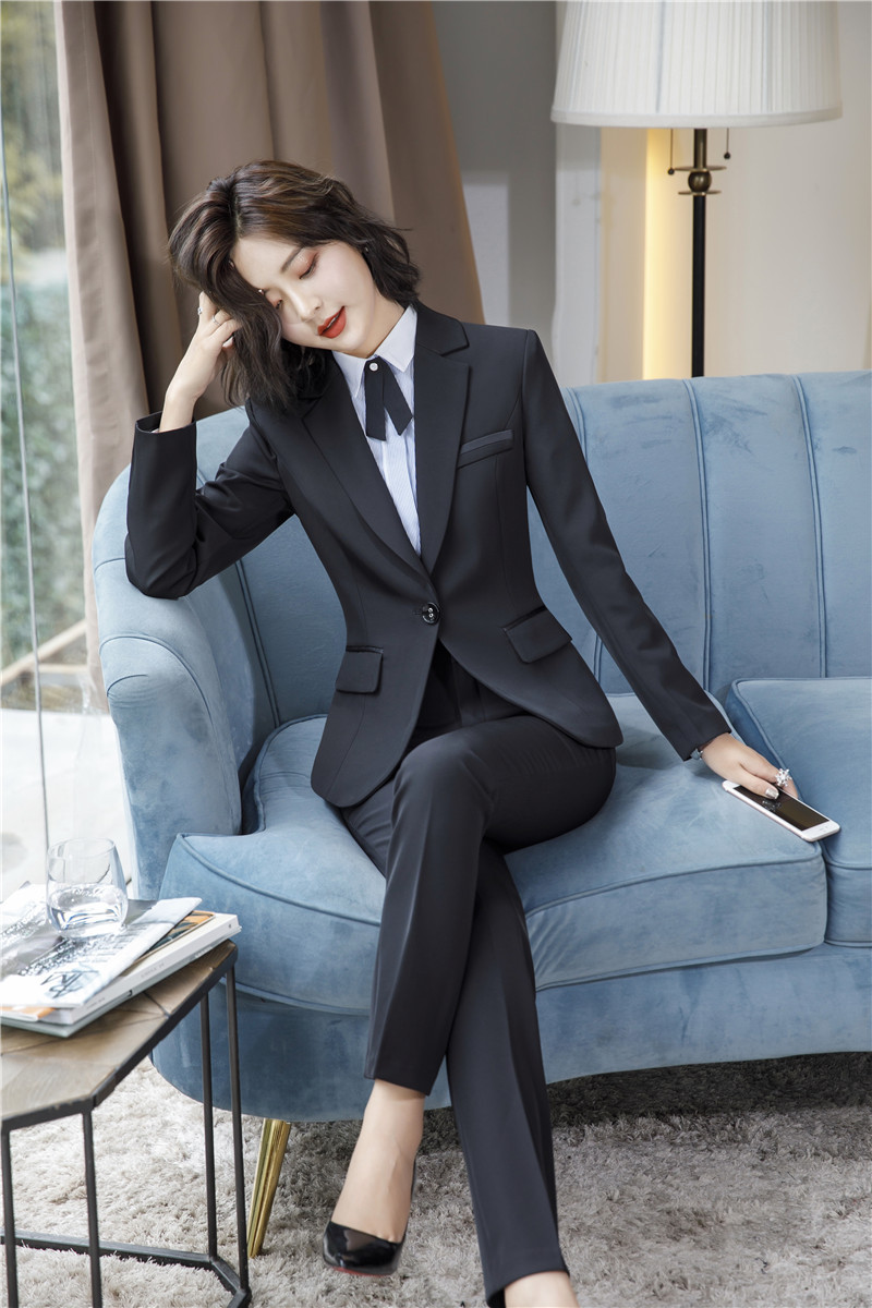 IZICFLY Spring Black Blazer Feminino Female Uniform Business Suits with Trouser Elegant Slim Office Suits for Women Clothing 4XL 58