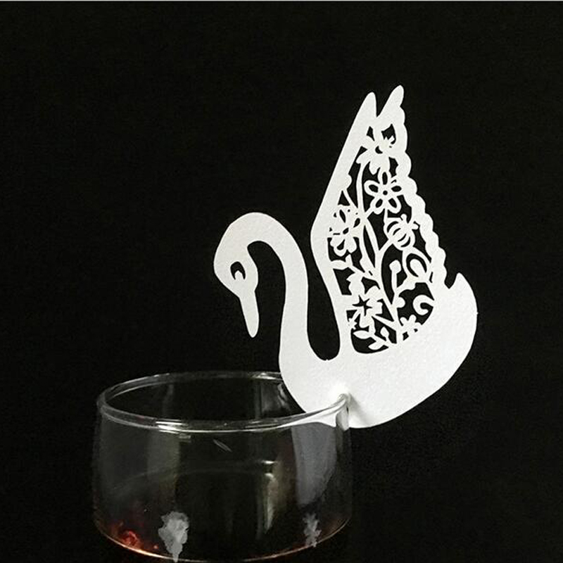 50PCS 10Color Laser Cut Swan Wedding Invitation Place Card  Escort Card  Cup Card Wine Glass Name Card For Wedding Decor (4)