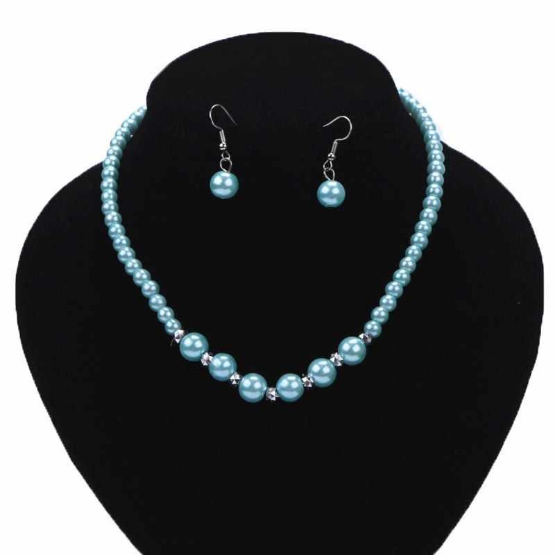 Moda urok imitacja naszyjnik z pereł czerwony/czarny/biały/fioletowy koraliki biżuteria zestaw panny młodej Wedding Prom Bijoux hurtowych