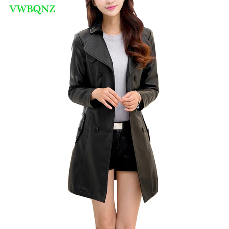 Cool PU   Leather   Motorcycle Jacket Women Spring Autumn Slim Long   Leather   Coat Womens fashion Plus size Cardigan Top coats 5XL 235