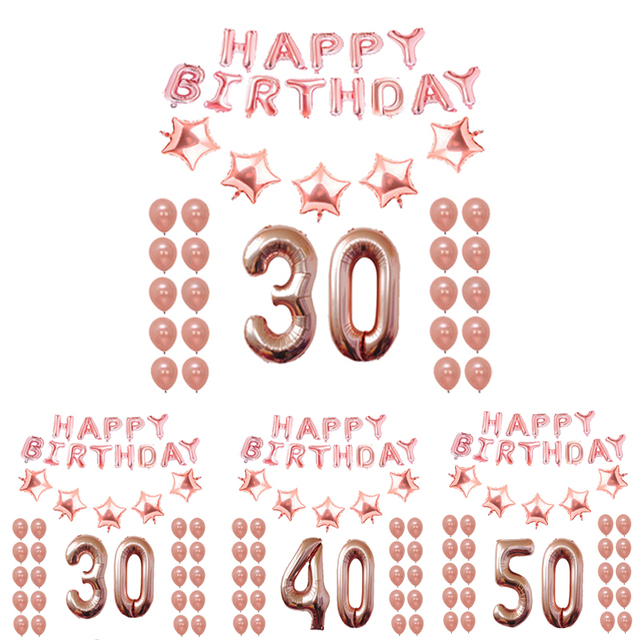 18th 25th 30th 35th 40th 50th 60th 70th 80th Birthday Balloon Rose Gold Number Happy Party Decorations Adult