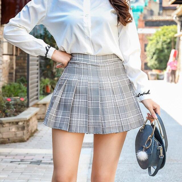 Women Fashion Mini Pleated Skirt Casual Loose Plaid Skirt 2019 New Korean Style A-Line Skirt High Waist kawaii skirt 3