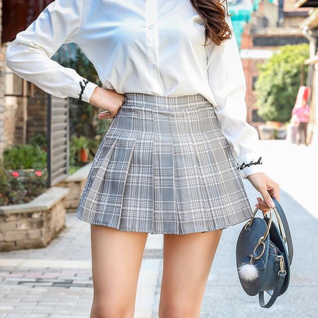 Women Fashion Mini Pleated Skirt Casual Loose Plaid Skirt 2019 New Korean Style A-Line Skirt High Waist kawaii skirt 4