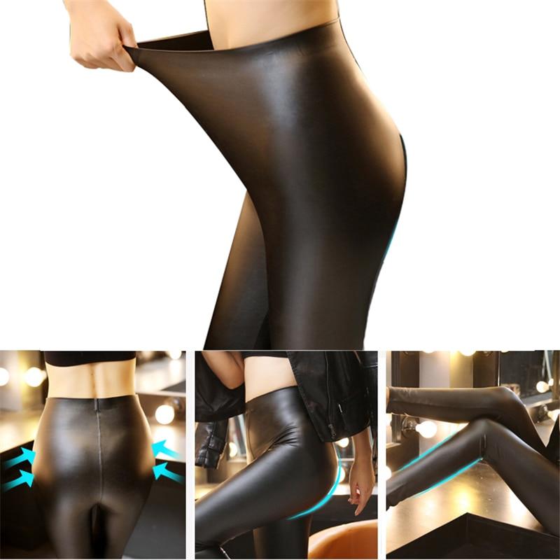 Plus Size Womens PU Leather Pants High Elastic Waist Leggings Not Crack Slim Leather Leggings Fleece Trousers Women Fashion