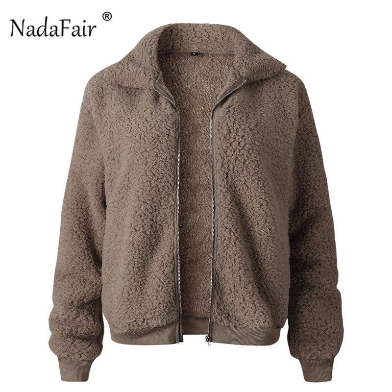 Nadafair Faux Fur Coat Women Autumn Winter Fluffy Teddy Jacket Coat Plus Size Long Sleeve Outerwear Turn Down Short Coat Female 24