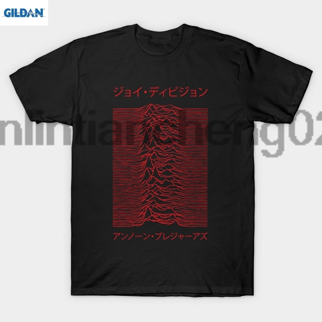 GILDAN Joy Division Unknown Pleasures Japanese Red T Shirt