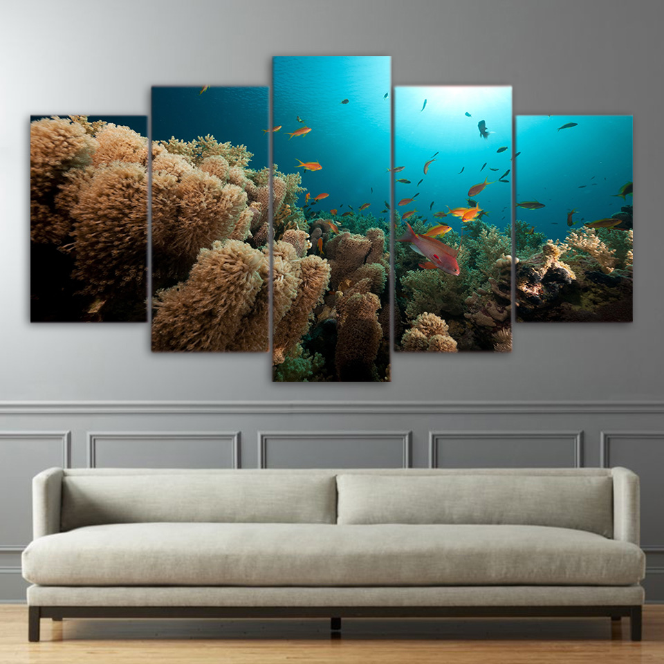 Seabed Fish Coral Ocean Animal 5 Piece Canvas Art Wall Art