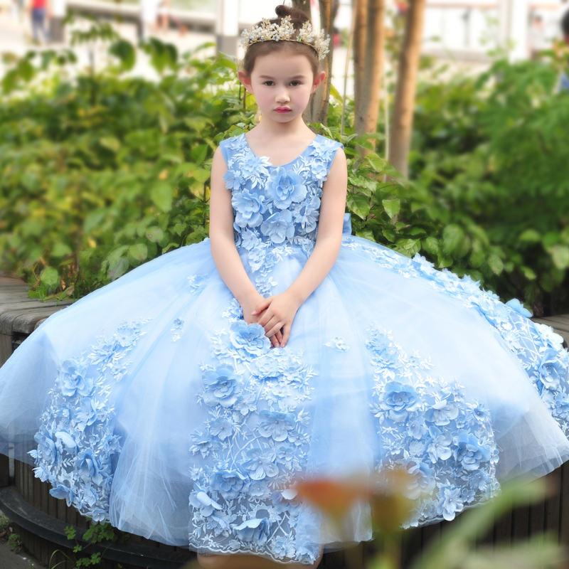 Appliques Ball Gown Big Bow Princess Dress 2018 Flower Girls Dresses Floor Length Children Wedding Party Kids Dress Luxury D148