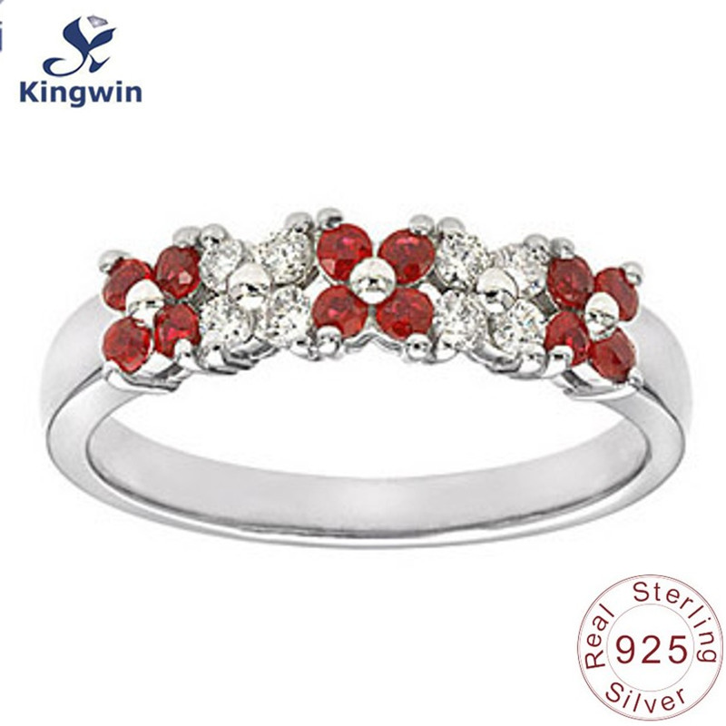 Sterling 925 silver jewelry rings for women flower design fine jewelry quality with cubic zircon stone in rhodium plating
