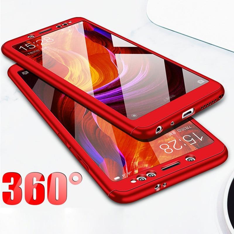 premium selection d63b1 101fc 3-In-1 Plastic Case + Glass Full Cover 360 For Xiaomi Redmi Note 5 Pro  Cover Redmi Note 5A Prime Case +Tempered Glass Gift