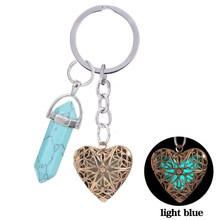 2016 Miao Lan New Turquoise Antique Bronze Plated Glowing In The Dark Heart Shaped Handmade Key Chain