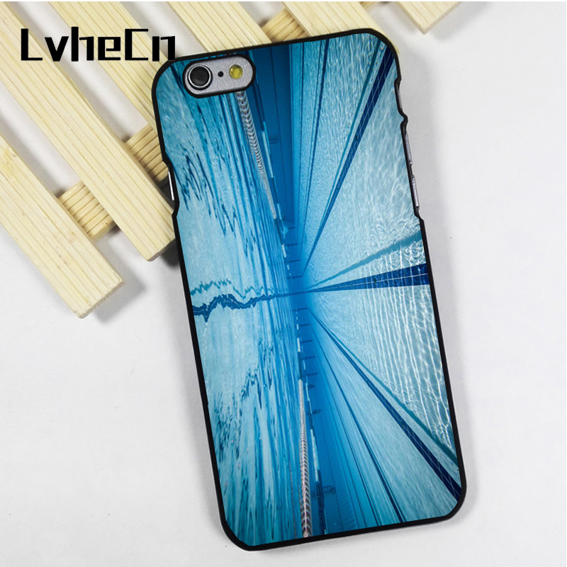 LvheCn phone case cover fit for iPhone 4 4s 5 5s 5c SE 6 6s 7 8 plus X ipod touch 4 5 6 Swimmer Swimming Pool Water