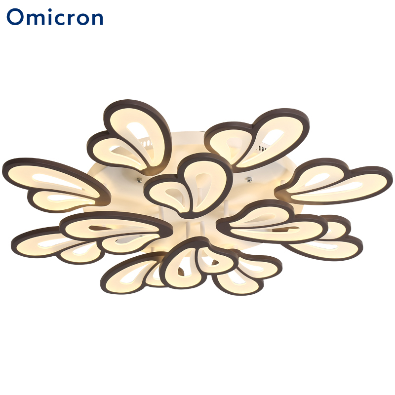 Omicron Modern Acrylic LED Ceiling Lights Creative Flowers Black White Coffee Lights For Living Room Bedroom Dining Room Lamp platinum omicron
