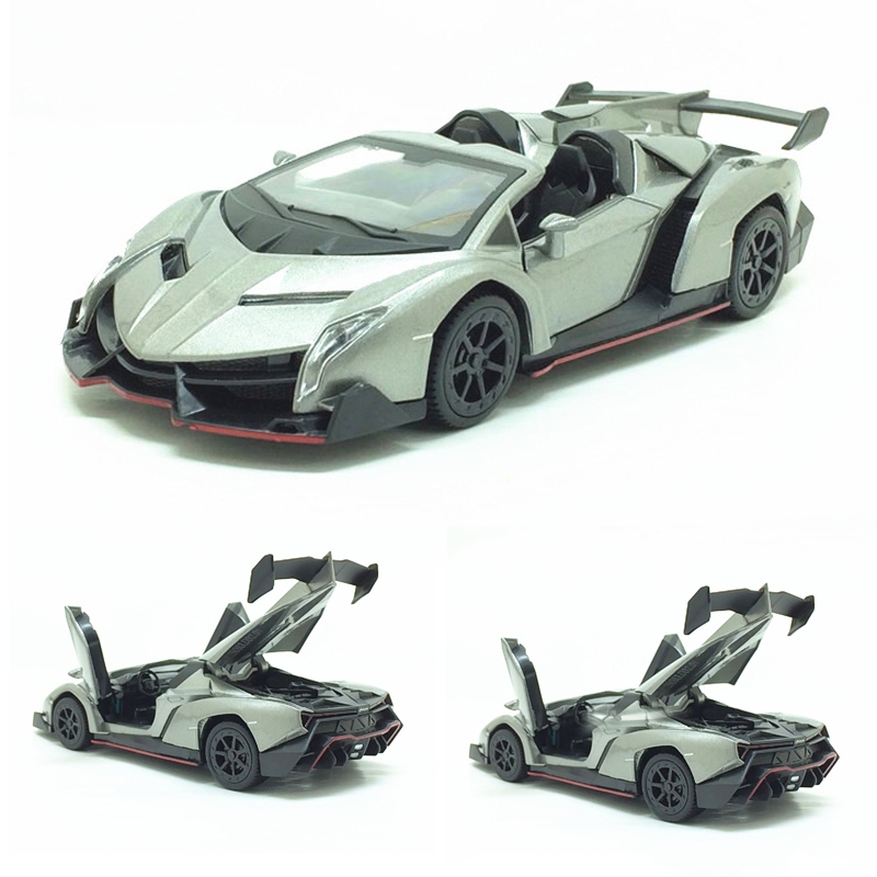 1:32 Veneno Multiple Colour Diecast Metal Alloy Car Model Convertible Car Open The Door Musical Flashing Pull Back Kids Toys