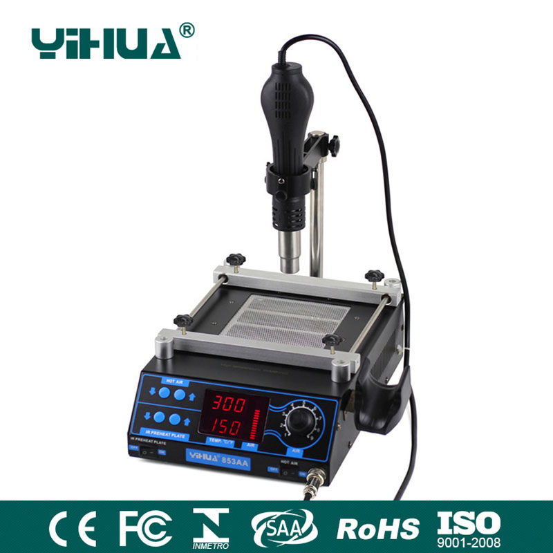YIHUA 853AA Air soldering station LCD Adjustable Electronic Hot Air Gun PCB preheat and IR preheating station bga rework station