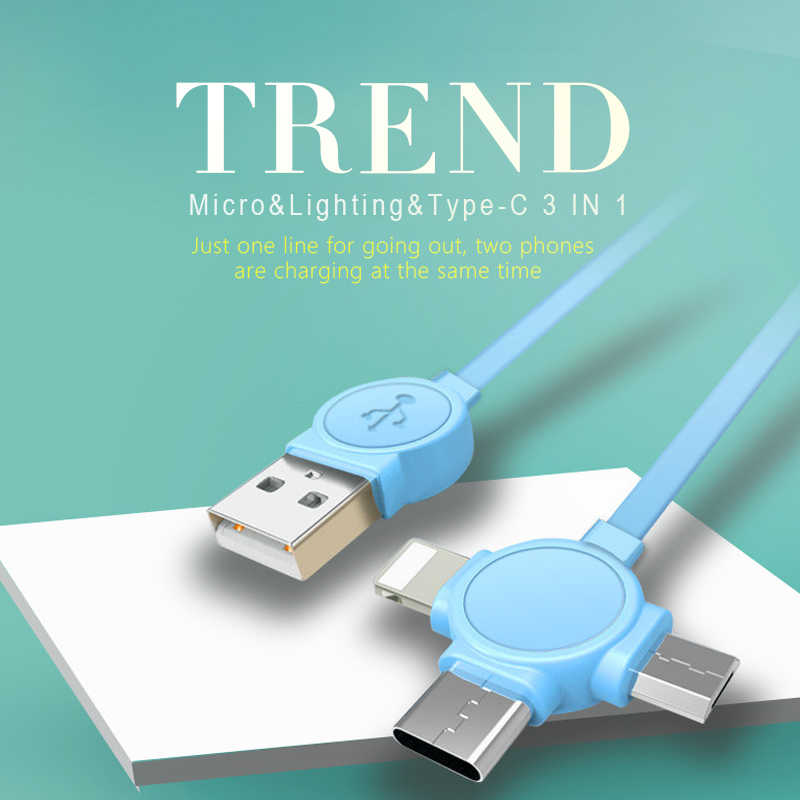 ! ACCEZZ 3 في 1 USB كابل الشاحن ل فون X 8 7 6 5 المصغّر USB نوع C العالمي جميع هاتف ذكي سريع كابل شحن ل Xiaomi