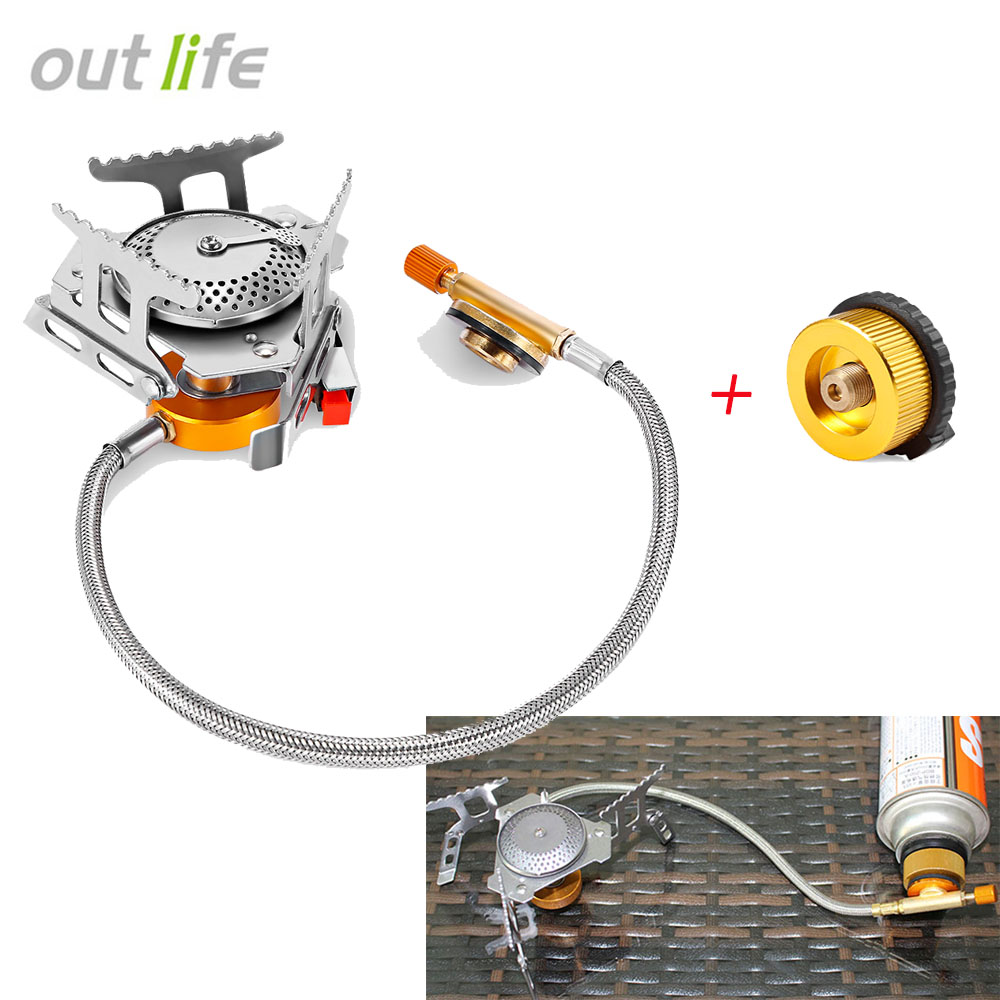 Outlife Outdoor Folding Gas Stove Camping Gas Burners Hiking BBQ Picnic Cooking Stove+Gas Split Type Furnace Converter Connector