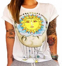 BONJEAN 2019 Summer new T-shirt loose O-neck  printing female owl Indian totem ladies short-sleeved cool