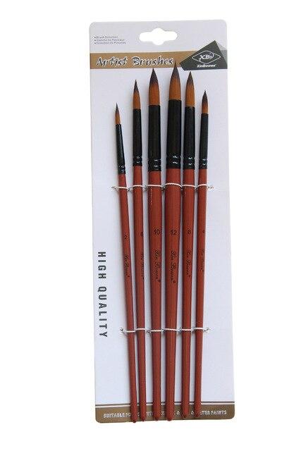 Nylon Peinture à L'huile Brosse Ronde Filbert Ange Plat Acrylique Apprentissage Diy Aquarelle Stylo pour Artistes Peintres Débutants, 6 pinceaux 8