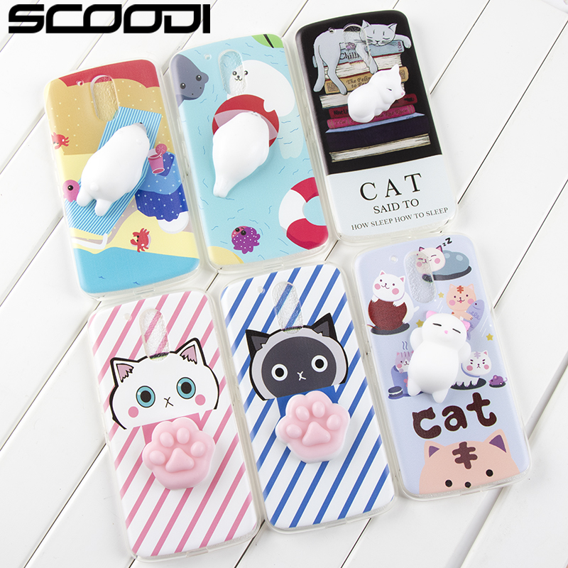 Cute Squishy phone case For MOTO G4 plus Soft Silicone Pappy Squishy Cat claw Cartoon seals ...