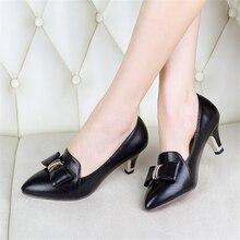 ปั๊มผู้หญิงรองเท้าหนังPUใหม่33 47 46 45 44 43 40 41 42ส้นสูง6เซนติเมตรบางส้นขนาดEUR 32-48