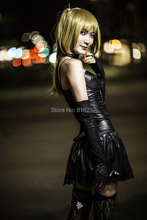 Death Note Misa Amane Imitation Leather Sexy Tube Tops Lace Dress Uniform Outfit Costumes