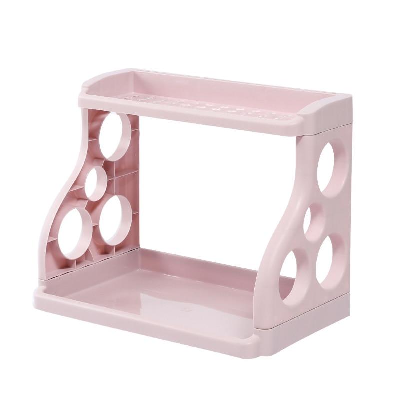 Double Layer Hollow Shelf Plastic Kitchen Bathroom Organizer Storage Rack Decor