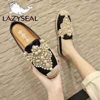 LazySeal/2019 г.; весенние шлепанцы; женская обувь; лоферы с жемчужинами; обувь на плоской подошве; женская обувь без застежки; женские мокасины с б...