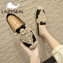 LazySeal 2019 Spring Slides Women Shoes Pearl Loafers Flat Heel Shoes Lazy Cane Women String Bead Moccasin Mules Shoes For Women